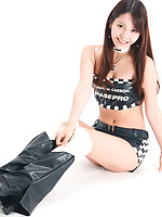 Miki Sakai Asian looks so appetizing in latex shorts and boots