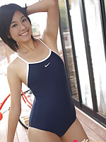 Ageha Yagyu Asian in spandex bath suit shows curves on bike