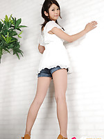 Hitomi Nose Asian is playful doll in short jeans and high heels