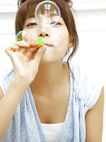 Saki Aibu Asian in blue dress is so sexy doing soap bubbles